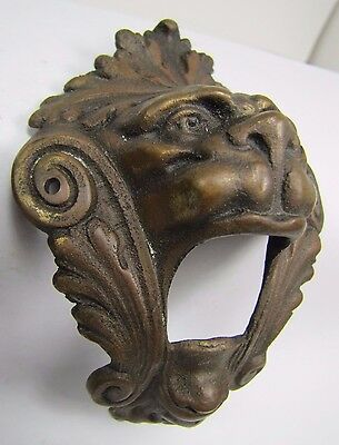 Antique Pair Bronze Monster Beast Lion Head Decorative Architectural Hardware 2 5