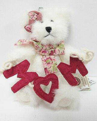"""Boyds #562472 /""""Mom/"""" Mother/'s Day 6/"""" White Plush Jointed Bear can be Ornament!"""