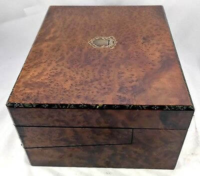 Antique Birds Eye Maple & Mother of Pearl Fitted Writing Box Slope circa 1880 10