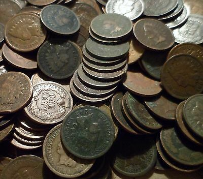 UNSEARCHED mixed lot of Fifty 50 Indian Head Cents from estate antique rare