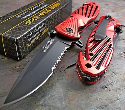 """TAC FORCE Assisted Open Speedster RED High Carbon Rescue Glass Breaker Knife 8"""""""