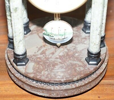 Vintage Marble Pillared Clock With Working Pendulum Movement Nautical Theme 5