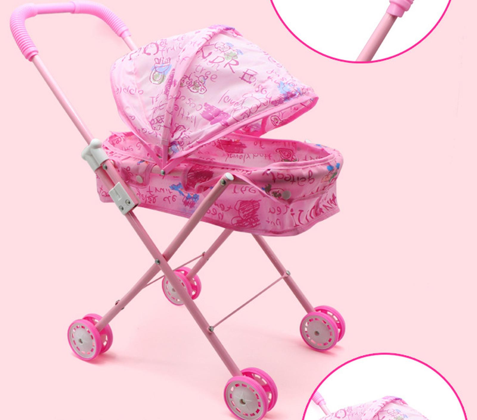 Baby Kids child Dolls Buggy Stroller Jogger Dolls Pram Pushchair Girls Toy UK 2