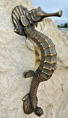 """large SEAHORSE solid brass door old style house PULL handle 13"""" heavy aged B 4"""