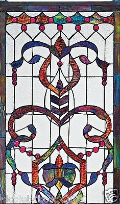 4 Foot European Antique Style Manor Estate Stained Glass Window Panel Authentic 6