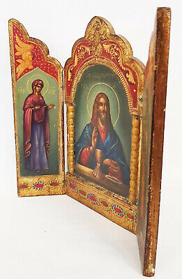 Antique 19th C Russian Hand Painted Wood Icon Triptych (Deesis Row) 5