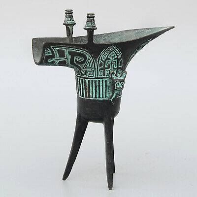 Collect Qianlong Years China Bronze Hand-Carved Auspicious Unique Royal Wine Cup 4