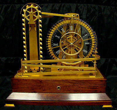 French Style Solid Rosewood Base 8 Day Waterwheel Industrial Ball Bearing Clock 2
