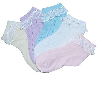 Little girls thin cotton pelerine socks flat toe seam white lace 2