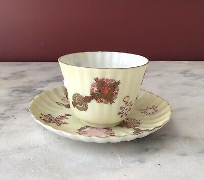 Rare Antique Chinese Export Thin Porcelain Hand Painted Tea Cups & Saucers 10