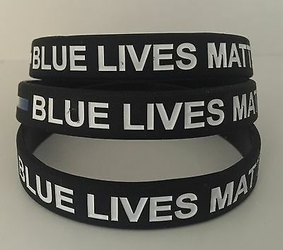 5 Of 6 Thin Blue Line Bracelet Wristband Lives Matter Silicone 1 Police Support