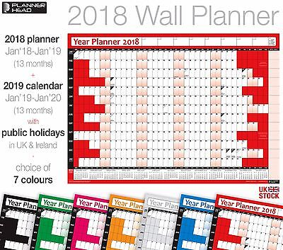 NEW 2018 12-month Wall Planner EN ANGLAIS Runs January 2018 to December 2018 Wall Chart Home or Office Wall Chart Laminated