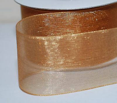 2-10m  Plain & With Gold Stripe Woven Edge Organza Sheer Chiffon Wedding Ribbon 2