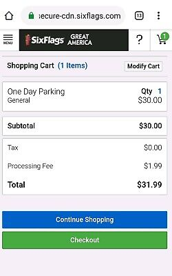 Six Flags Great America Chicago Illinois Day Parking Pass 2019 2