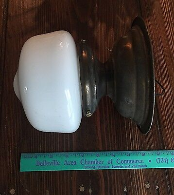 Vintage Antique Flush Mount Fixture Wired Milk White School House Shade Great!!! 5