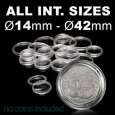 (ProSchulz) Coin Capsules ALL INTERNAL SIZES 14 mm to 42mm  x 10, 30, 50, 100pcs 12