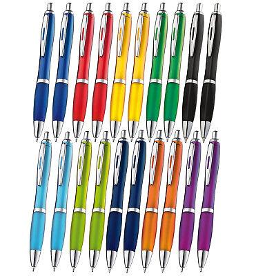 Transparente Druckkugelschreiber im Set mit 10/20/50/100/500 Stück- 14 Farben 8