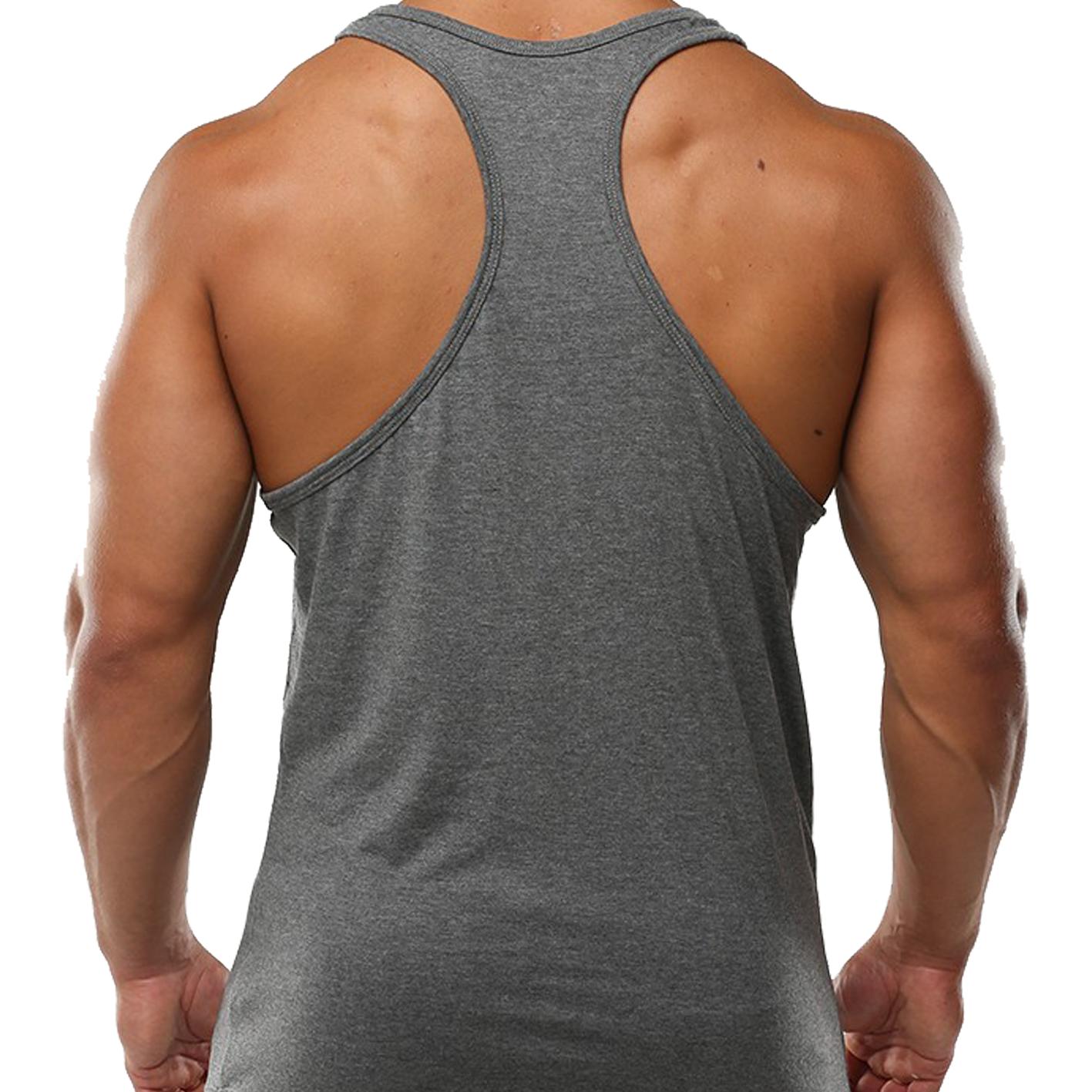 Mens Gym Vest Plain Stringer Bodybuilding Muscle Training Top Fitness Singlet 7
