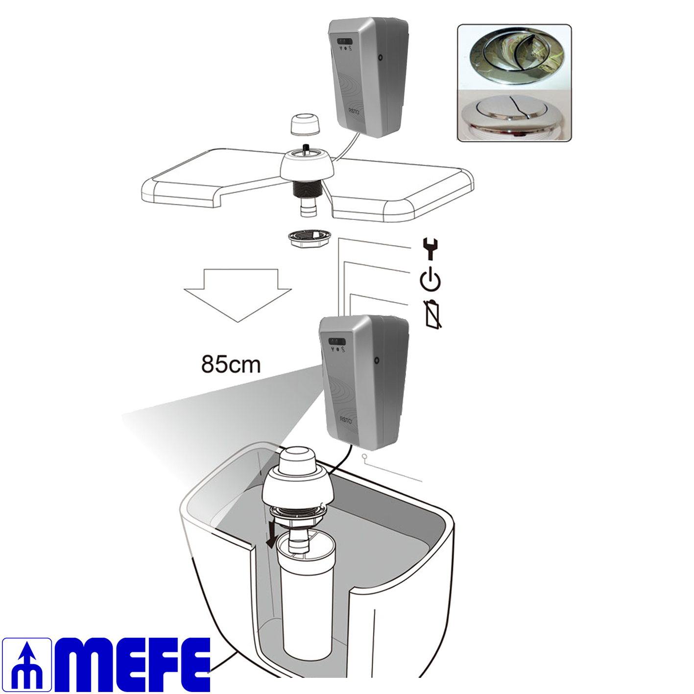 Infrared Automatic Toilet Flusher For Side Handle Type Cistern CAT 67SH1