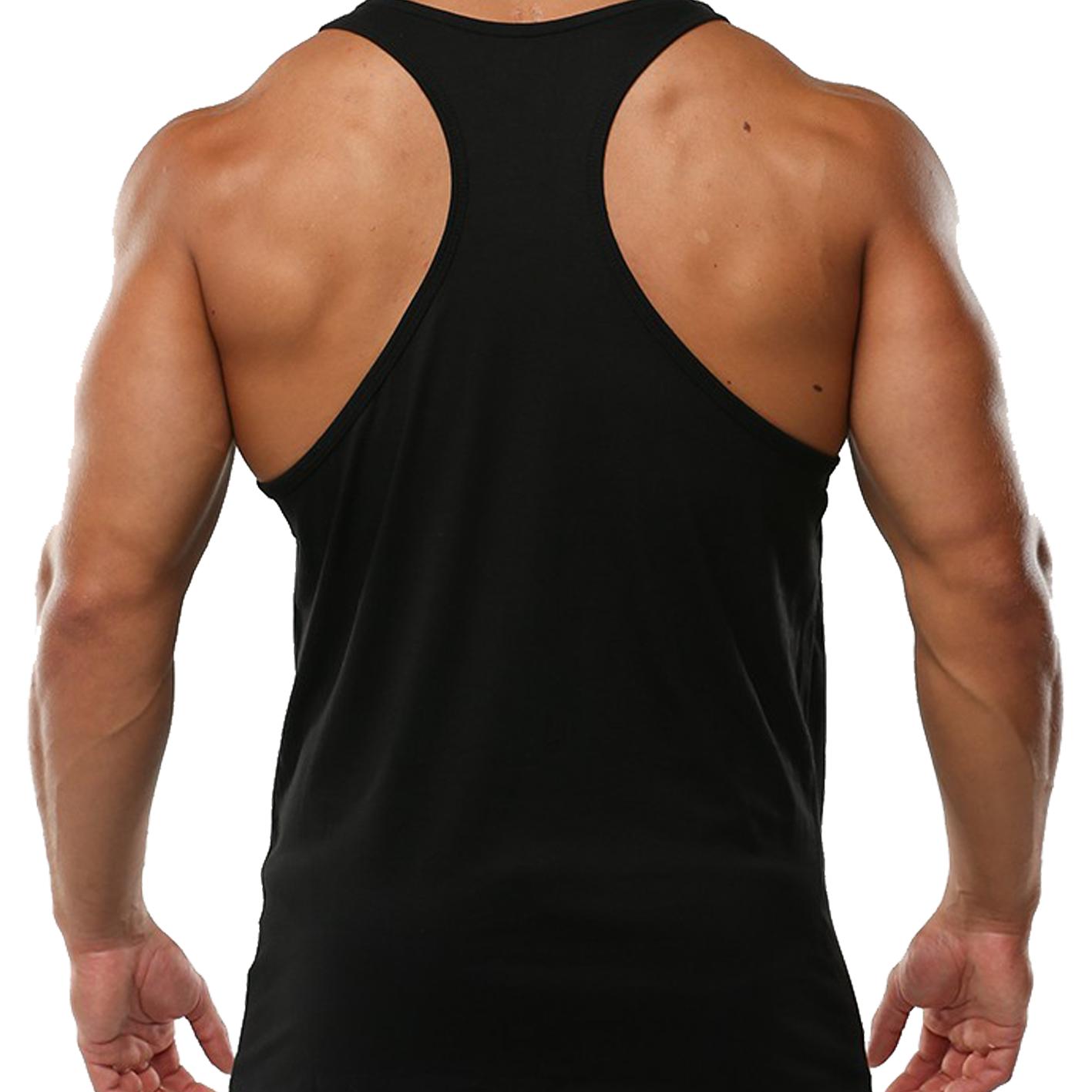 Mens Gym Vest Plain Stringer Bodybuilding Muscle Training Top Fitness Singlet 6