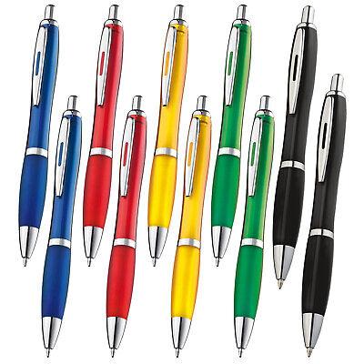 Transparente Druckkugelschreiber im Set mit 10/20/50/100/500 Stück- 14 Farben 3