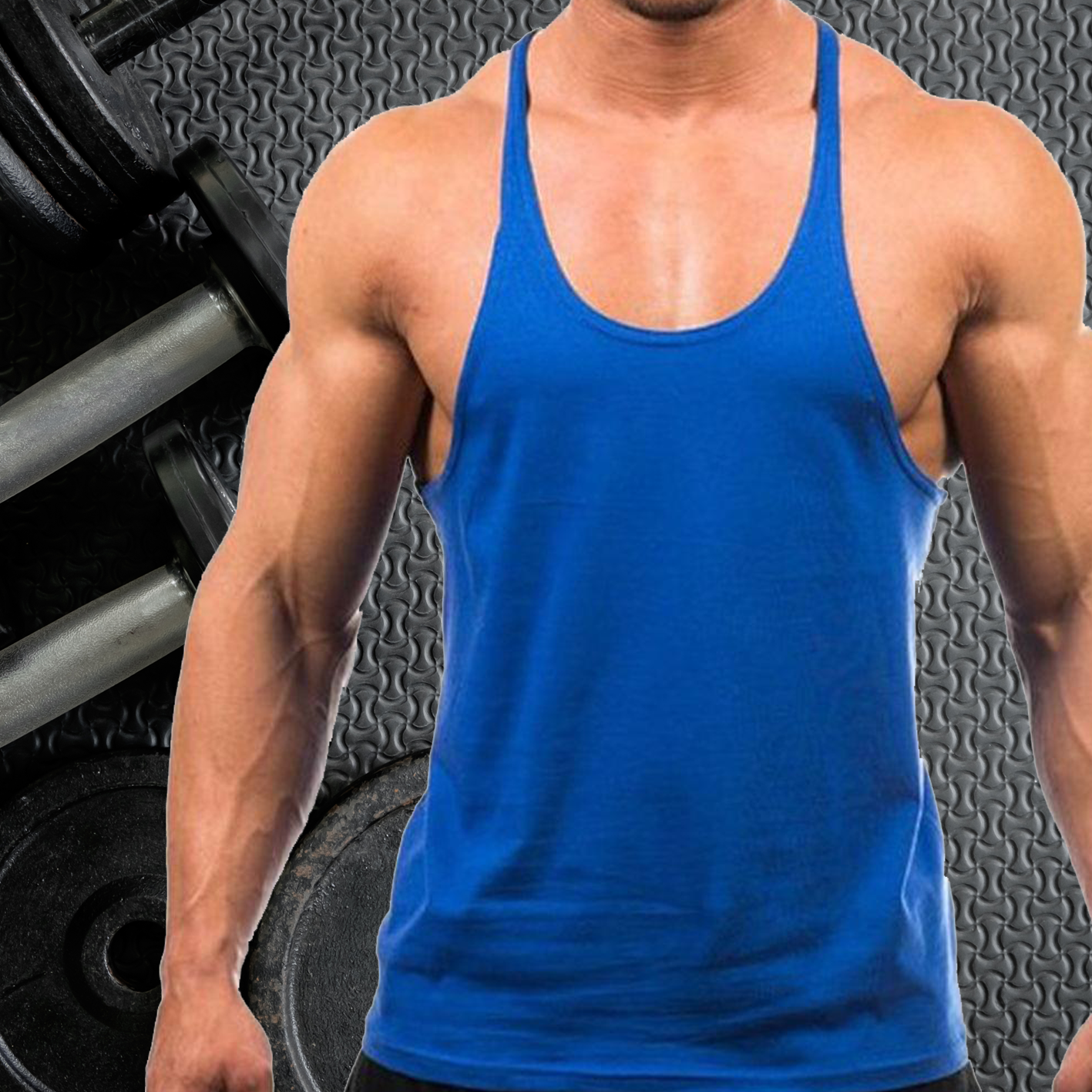 Mens Gym Vest Plain Stringer Bodybuilding Muscle Training Top Fitness Singlet 4