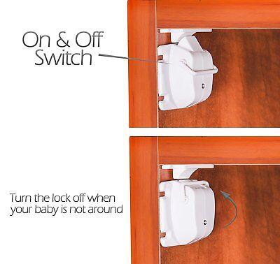 Safety concealed Magnetic Cabinet Locks-No Drilling-2 Locks+1 key 4