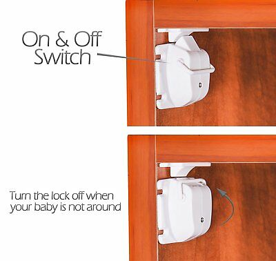 Safety concealed Magnetic Cabinet Locks-No Drilling-8 Locks+2 key 4