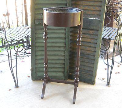 Antique Rustic Victorian Farmhouse Garden Planter Wood Zinc Fern Plant Stand