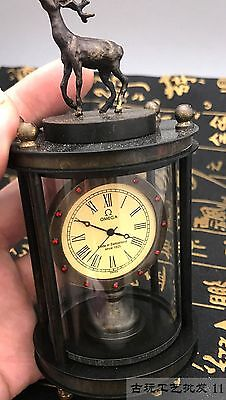 Asian collection of old handmade copper carved deer mechanical watch 9