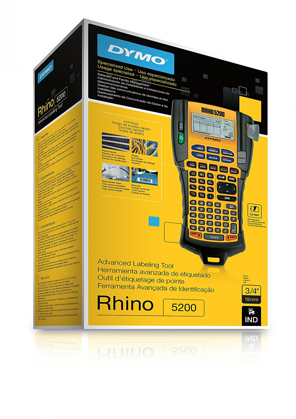 Dymo Rhinopro 5200 Label Printer Industrial Thermal Maker Labeling Tool Qwerty Keyboard 1801611 Makers Electronics 10 Of 12 Yellow Black