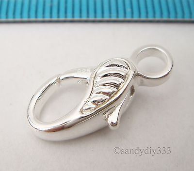 1x BRIGHT STERLING SILVER SHELL HEAVY LOBSTER TRIGGER CLASP BEAD 18.2mm N552 2