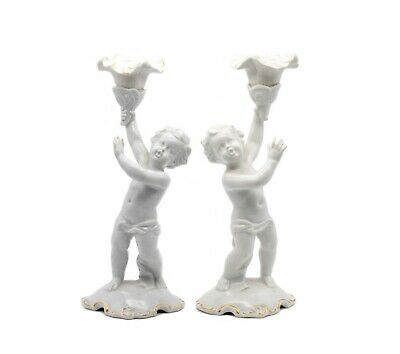 Germany 1930, Schaubach Kunts White Porcelain Pair Of Candle Holders Nice!!! 2