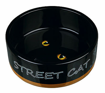 Urban Street Cat & Cats Eyes Black Ceramic Bowl Food or Water Dish for Cats 0.3L 2