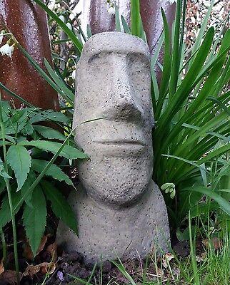 4 Of 6 Stone Garden Moai Head / Easter Island Head / Tiki Statue Ornament