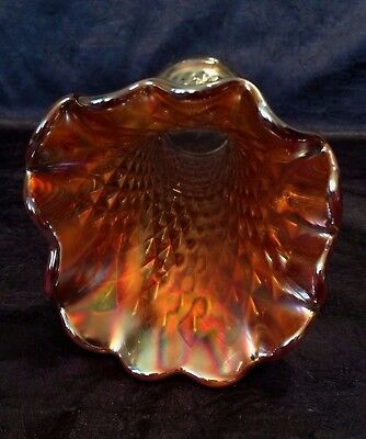 Vintage Northwood; Marigold-Carnival-Glass Diamond-Point Stretch-Swung 9-IN Vase 5
