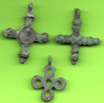 Lot 3 Ancient Viking Enamel Bronze Cross Kiev Russia Ukraine 1100 Byzantine 26 2