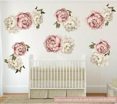 Pink Peony #20 Removable Wall Decal Floral Nursery Decor Flower Wall Sticker