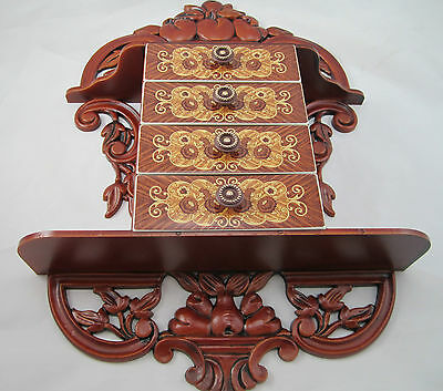 CONSOLE with Jewelry box Schmuckbox 45x32x8 antique Baroque Repro with 4 drawers 6