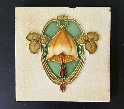 Three Antique Art Nouveau flower tiles circa 1900 3