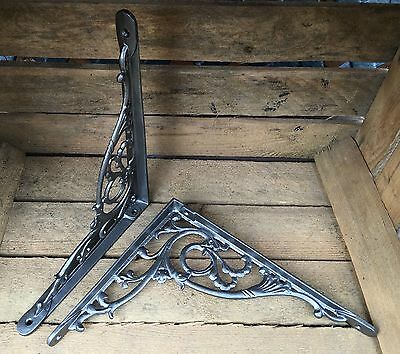 "Pair Pewter 10x8"" ANTIQUE HEAVY CAST IRON VICTORIAN SHELF WALL BRACKETS BR28px2 2"