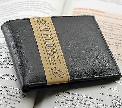 New Mens Bifold Genuine Leather Wallet Multi Credit Card ID License Slim Black 2