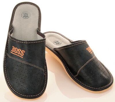 """Herren """"BOSS"""" Hausschuhe aus LEDER Pantoffeln Latschen Pantoletten Gr. 32-50 NEU 4"""