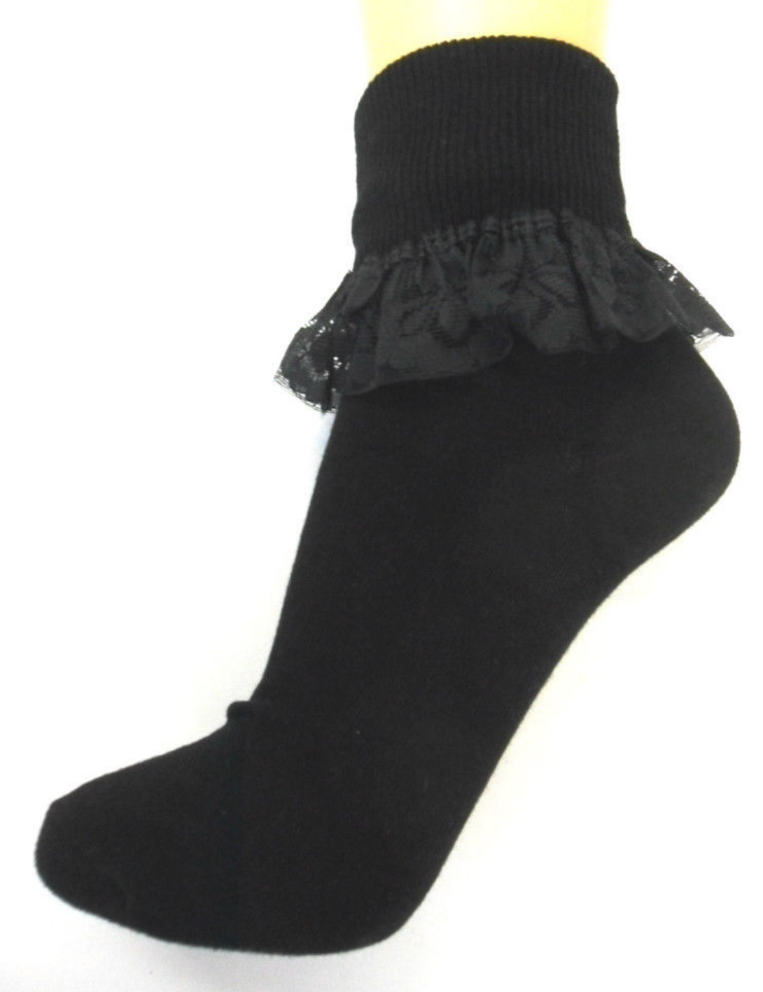 3 and 6 Pairs Girls  Cotton School Socks for Kids, Frilly Lace Ankle 3
