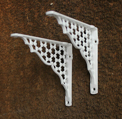 "Pair of 6"" x 5"" SMALL HONEYCOMB ANTIQUE CAST IRON VICTORIAN SHELF BRACKETS WHITE 3"