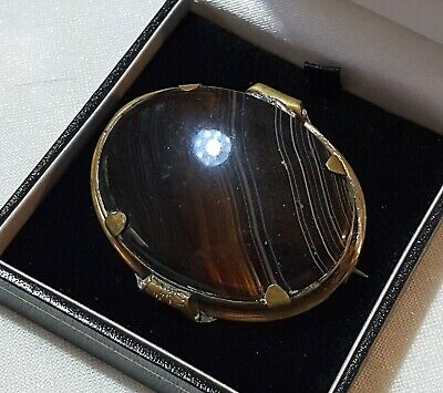 Pinchbeck & banded agate vintage Victorian antique large oval brooch 2