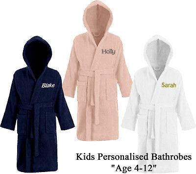 Personalised Kids Childrens Bathrobe Terry Towelling Hooded Bath Robe Gown 4 -14 3