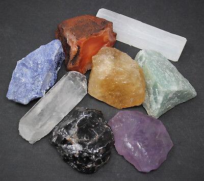 LARGE Chakra Natural Stones Set 7 Rough Crystals Raw Selenite Stick, Directions 3