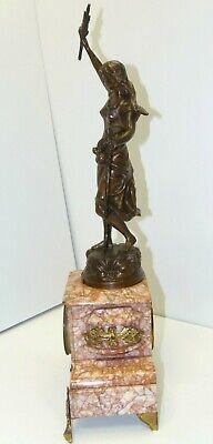 GARNITURE de CHEMINEE PENDULE ART NOUVEAU Sujet Régule patine Bronze AGRICULTURE 3
