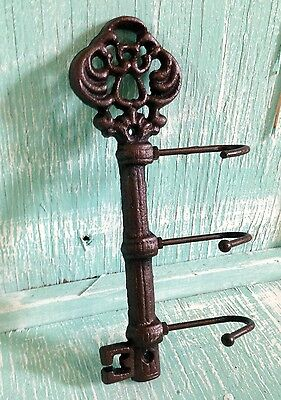 Chamber Skeleton Key Hook Cast Iron Wall Mount Rustic Old Fashioned Vintage New 2